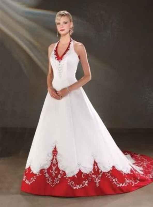 Abito da sposa bianco e rosso - 1