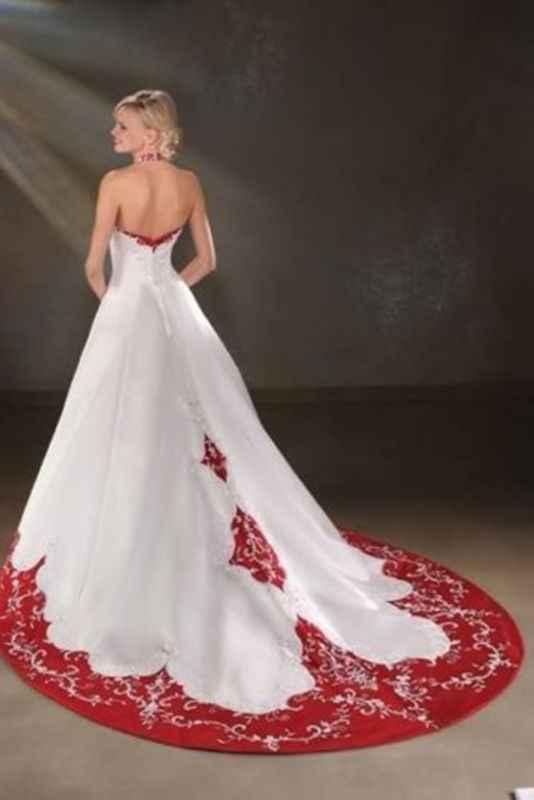 Abito da sposa bianco e rosso - 2