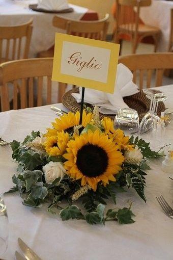 Matrimonio Girasoli E Spighe : Centrotavola con girasoli abbinamento organizzazione