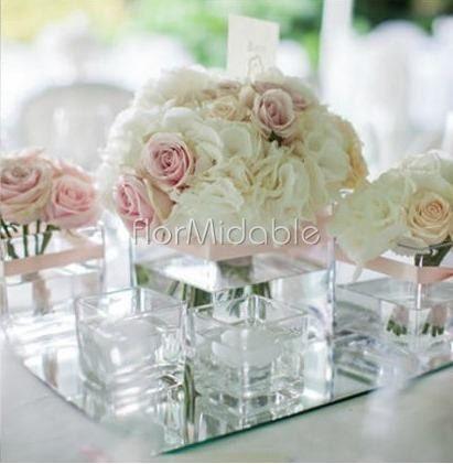 Centrotavola con fiori e candele s o no - Specchio romantico riflessi prezzo ...