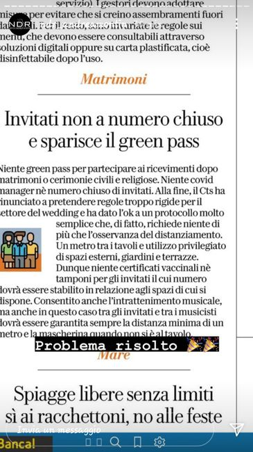 No green pass matrimonio 2