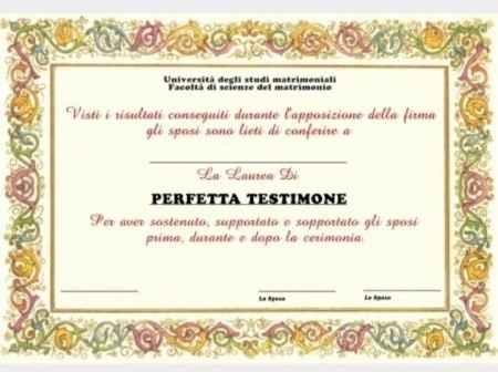 Diploma perfetta testimone