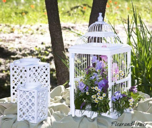 Centrotavola gabbiette lanterne ricevimento di nozze - Decorare lanterne ...