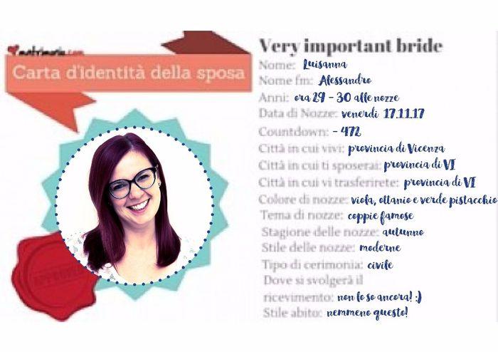 Carta di identità della sposa