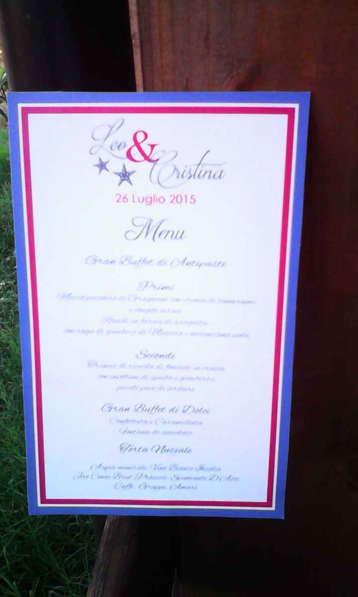 bozza menu stampato