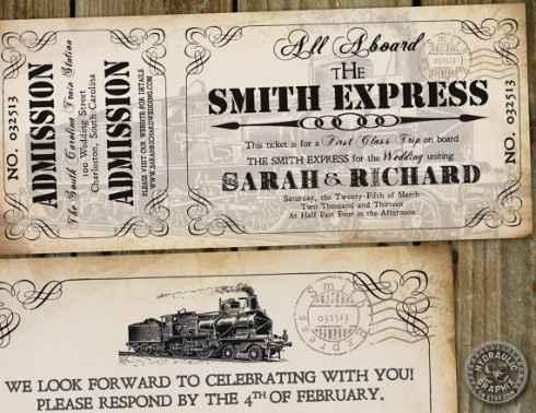 Partecipazione matrimonio treno