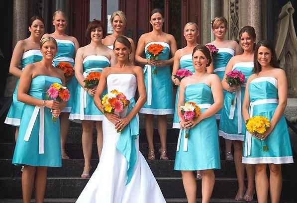 Vestito damigelle d'onore arancione blu