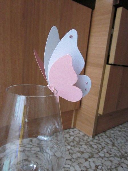 Segnaposto farfalla bianco e rosa