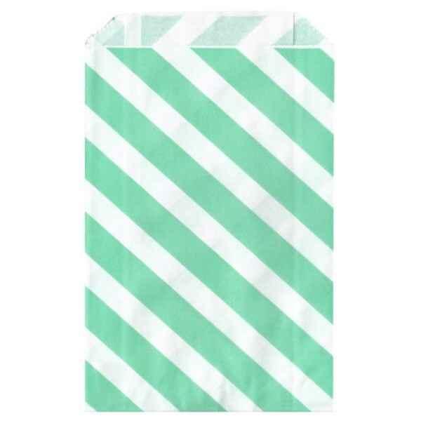 Sacchetti verde menta a righe bianche