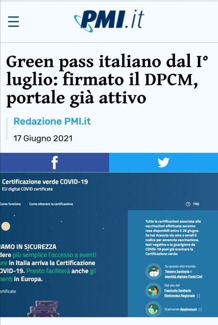 ⚠️ Green Pass, dpcm firmato, portale attivo... 1