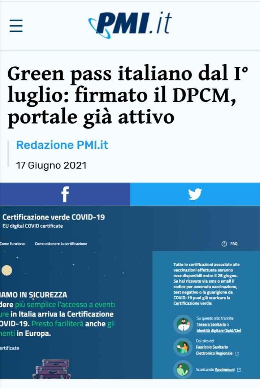 ⚠️ Green Pass, dpcm firmato, portale attivo... - 1