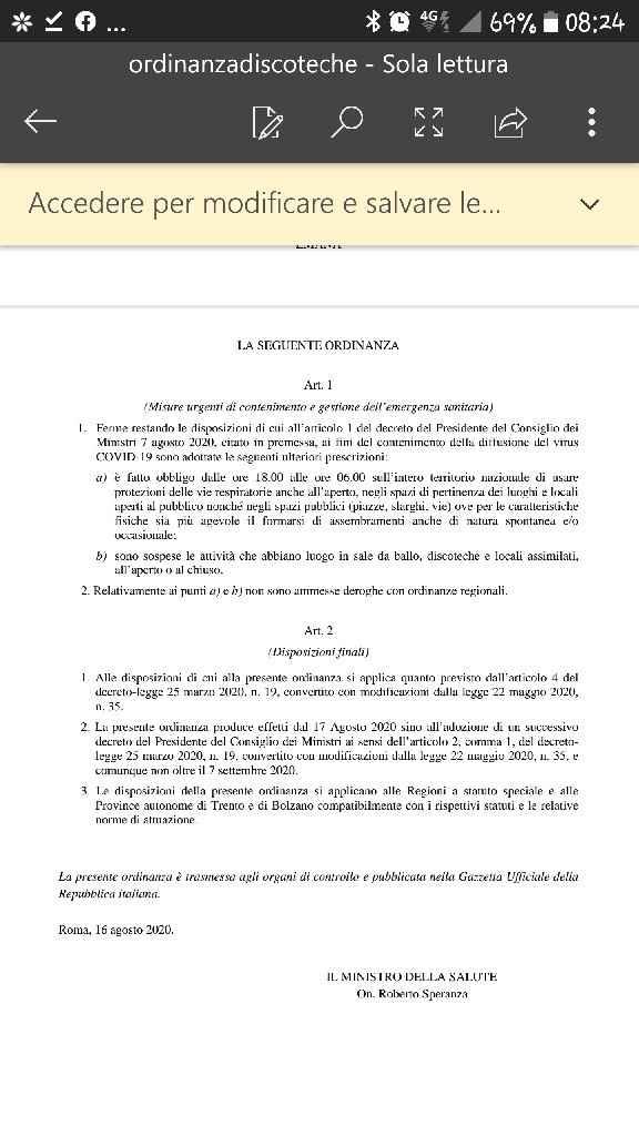Nuova ordinanza ministro speranza sposa del 29.8.20 - 2