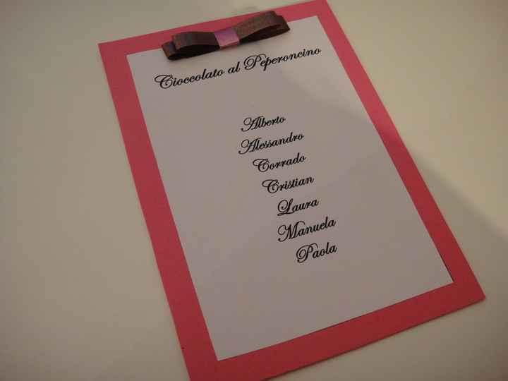 elenco invitati per tavolo