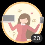 Blogger (20). Hai già creato 20 topic! Internet sta diventando un mezzo attraverso cui  condividere le tue idee e i tuoi dubbi con gli altri. Sfoggia questa  medaglia per essere un'autentica blogger.