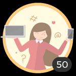 Blogger (50). Hai già creato 50 topic! Internet sta diventando un mezzo attraverso cui condividere le tue idee e i tuoi dubbi con gli altri. Sfoggia questa medaglia per essere un'autentica blogger.