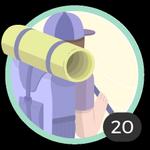 Avventuriera (20). Il tuo spirito d'avventura non conosce limiti. Hai già partecipato a 20 topic quindi puoi sfoggiare questa bella medaglia.