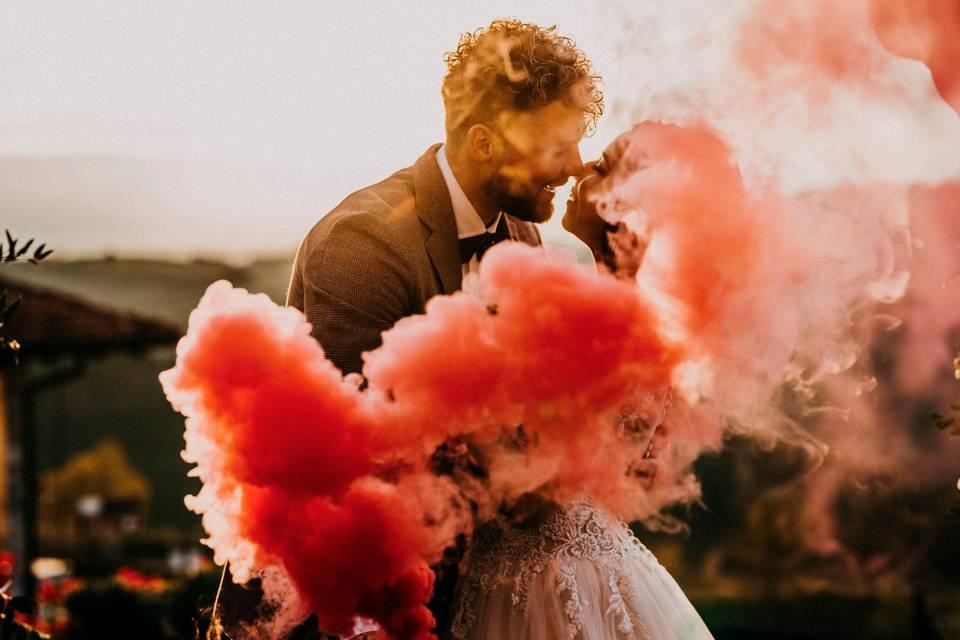 Foto matrimonio con fumogeni