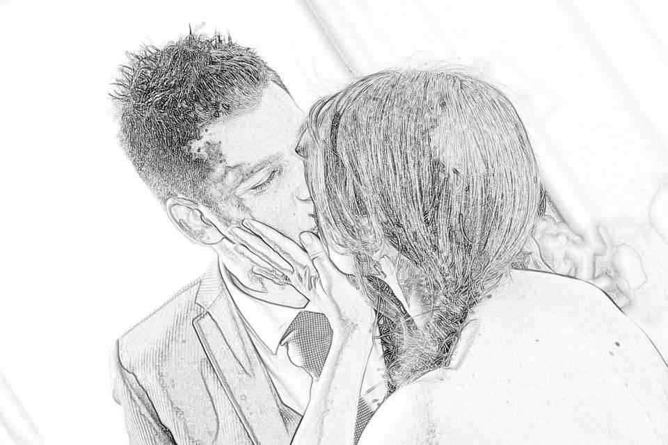 Bacio sposi disegno