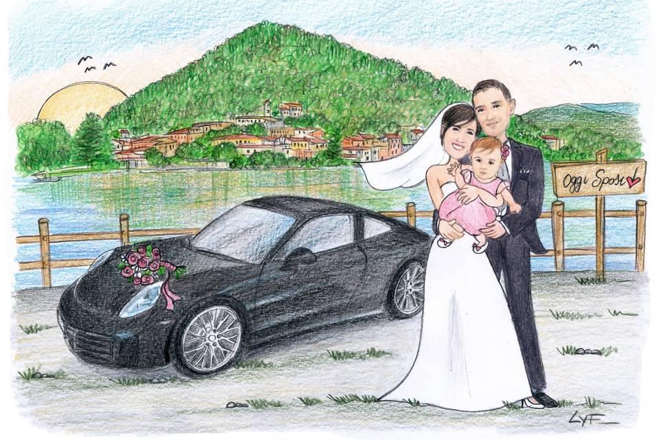 Sposi con figlia e macchina