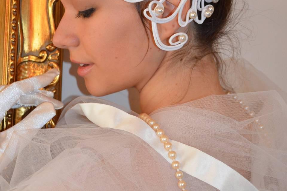 Acconciatura sposa perle